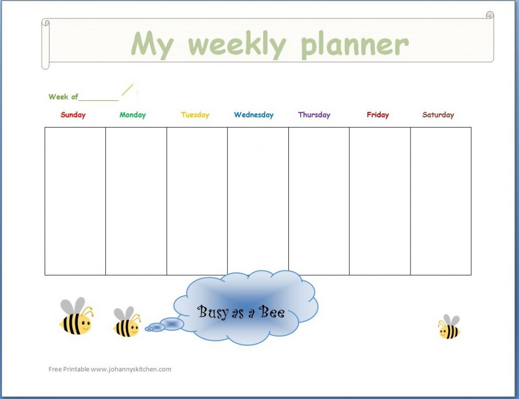 weekly planner busy as a bee