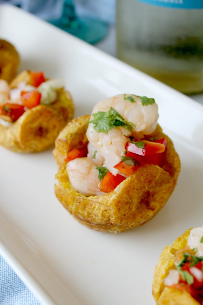 plantain cups with shrimp salad