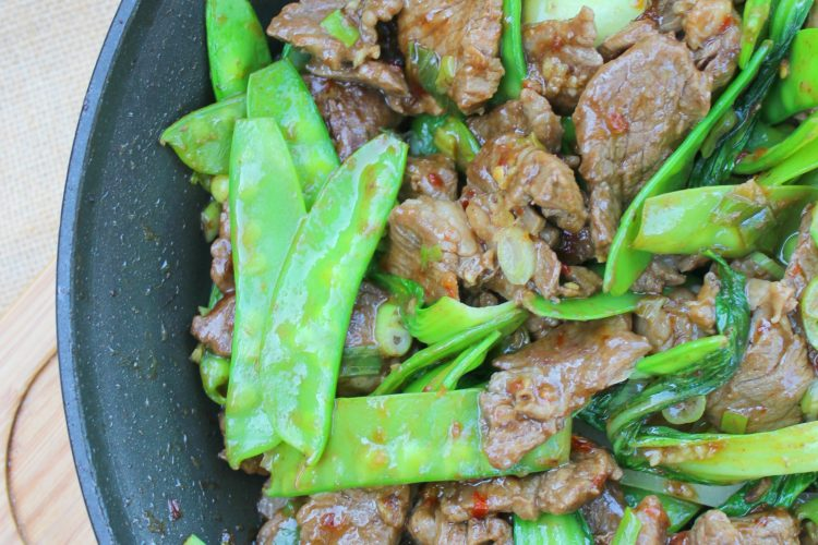 Oh so yummy beef stir-fry with bok choy and snow peas.
